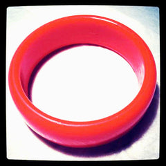 Plastic Tomato Red Hot Bold Domed Bracelet Bangle True Vintage Jewelry Classic