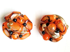 Vintage Plastic Jewelry Cluster Clip on Earrings Made in Hong Kong