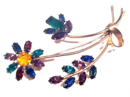 Sterling by Coro Vintage Jewelry Spray Floral Brooch Pin Colorful Rhinestones