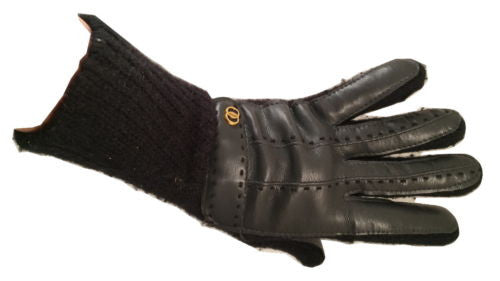 Navy Black Cozy Knit Faux Leather Gloves Authentic Vintage Ladies Winter Warm