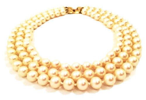 vintage monet jewelry pearls necklace three strands