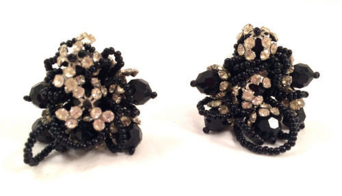 LOIS ANN Jet Black Crystals Sparkling Ice Rhinestones Clip on Earrings Couture