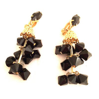 LEWIS SEGAL California Drop Sparkling French Jet Black Chandelier Clip Earrings