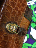 Jackson Vintage Bag Accordion Faux Leather Brown Green Handbag Accessories