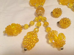 YELLOW Sun 30s DEMI Set Necklace and Earrings Long Pendant Dangle Necklace Screw