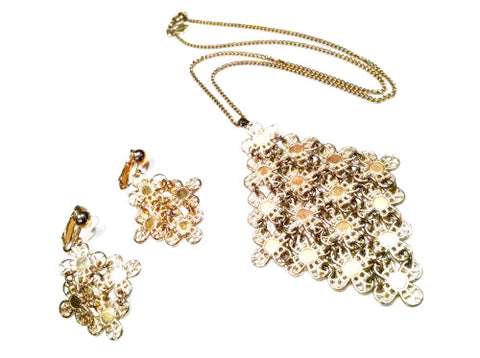 Sarah Coventry Vintage Jewelry Demi Parure Set Necklace Pendant Earrings
