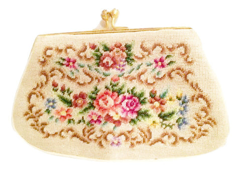 Pointelle Coin Purse Tapestry Flowers Floral Little Coin Bag True Vintage Accessory