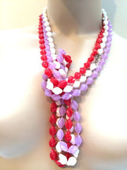 Sarah Cov Designer marked Molded Plastic Beaded Necklace True Vintage Jewelry
