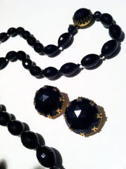 Vintage Jewelry Set Black Plastic Beaded Necklace and Clip on Earrings