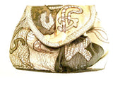 NAS Patchwork Handbag Gold Black Silver Metallic Bag Vintage Accessories
