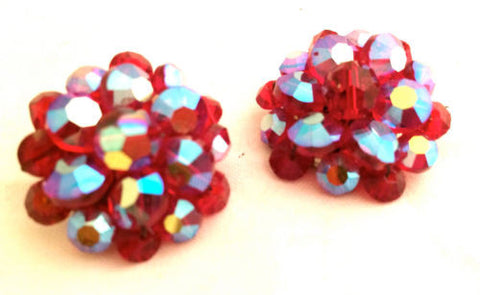 Red Cluster Earrings Crystals Aurora Borealis Metal Wired Sparkling Beads Bold Clip on Earrings Vintage Jewelry