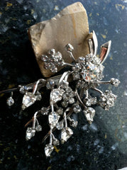 STUNNING Floral Large Bouquet Runway Rhinestones Prong Set Figural Pin Brooch