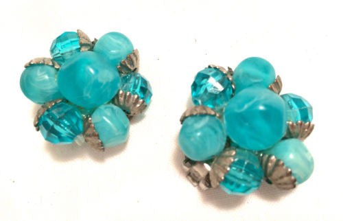 Turquoise Blue Plastic Crystal Beaded Cluster Clip on Earrings True Vintage Vtg