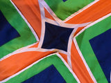 MOD Geometric Scarf Orange Green Navy Blue White Stunning Vintage Bold Accessory