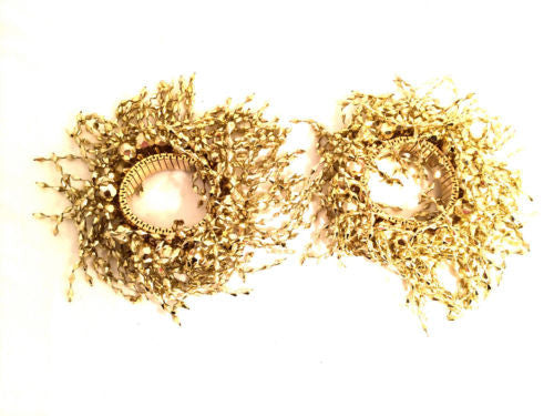SET of 2 Cuff Metallic Gold Fireworks Jewelry Plastic Molded Expandable Bracelet