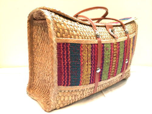 Stunning Supersize Market Bag Carry On Luggage Ethnic Handmade Vintage Colorful