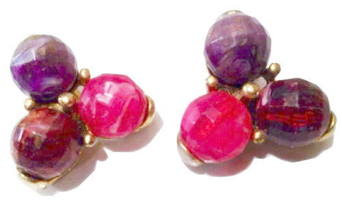 Kramer Vintage Jewelry Burgundy Red Purple Pink Golden Clip on Earrings