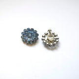 Blue Sparkling Rhinestones Clip on Earrings Vintage Jewelry
