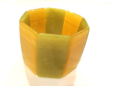 Translucent Modernist Green Yellow Color Block Bangle Expandable Wide Cuff