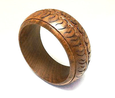 Wooden Carved Bangle Bracelet Ethnic Vintage Jewelry
