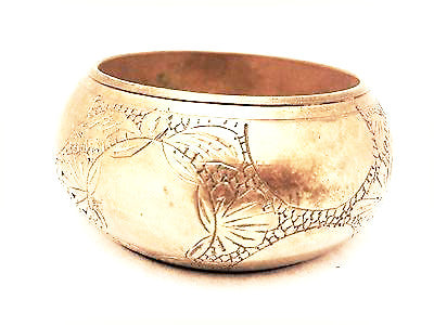 Etched Brass Bangle Huge Enormous Bold Bracelet Ethnic Handmade Heavy Jewelry