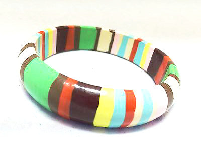 Wooden Bangle Bracelet Colorful Hand-painted Ethnic Vintage Jewelry