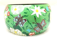 Green Wooden Bangle Handmade Bugs Garden Flowers Painted Jewelry Unique Bracelet