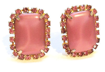 Pink Clip On Earrings True Vintage Jewelry Glamorous Sparkling Rhinestones Bold