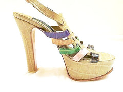 Fernando Pires Shoes Croco Colors Leather Strappy Sandals NIB 38 High Heels 8.5