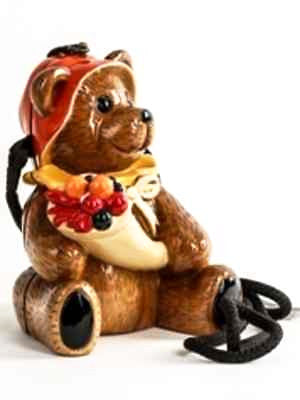 Timmy Woods Wooden Carved Handbag Couture Whimsical Harvest Brown Bear Red Hood
