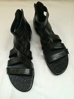 Fernando Pires Shoes Croco Black Leather Straped Cage Sandals NIB 38 Flat 8 nice