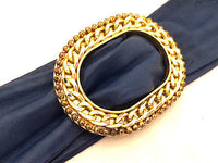 Navy Blue Retro Leather Clinch Adjustable Belt Gold Chain Buckle True Vintage