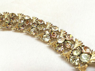 Lisner Jewelry Sparkling AB Rhinestones Link Bracelet Golden True Vintage As is