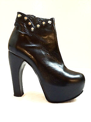 Fernando Pires Shoes Black Leather Boots NIB 38 Steampunk Studded High Heels 8