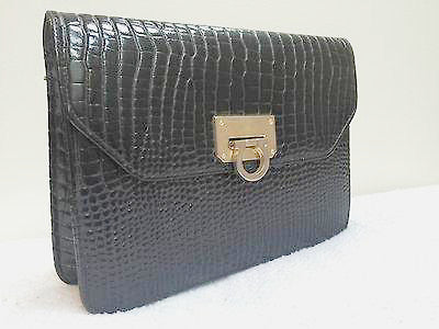Woolworths Vintage Purse Black Croc Patent Leather Bag