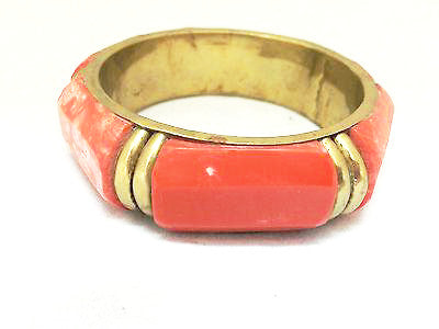 Bone Brass Bangle Bracelet Ethnic Handmade Vintage Jewelry