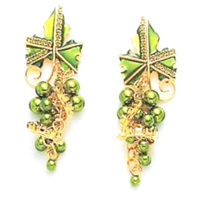 LATR Lunch at the Ritz Couture Whimsical Grape Fruits Runway Clip on Earrings