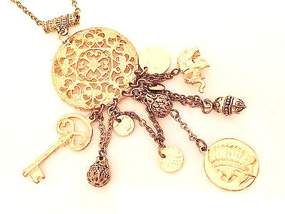 Amulet Figural Filigree Pendant Golden Chain Necklace Vintage Jewelry