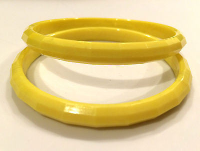 Set Of 2 Bangles Faceted Bright Bold Yellow Bracelets Old Plastic Marblelized
