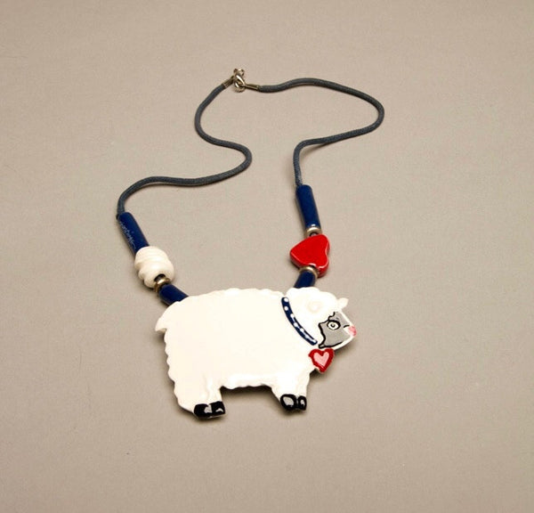 Shoestrings Signed Ceramic Lamb Sheep Figural Vintage Necklace Hand painted