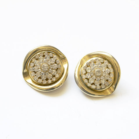 Bold Sparkling Rhinestones Golden Clip on Earrings Vintage Jewelry