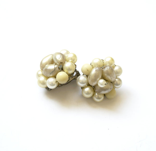 Old Pearls Cluster Clip on Earrings Vintage Jewelry made in Japan