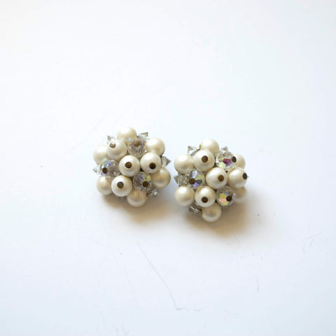 Laguna Pearls and Crystals Cluster Clip on Earrings Vintage Jewelry