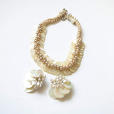 Mother of Pearl Beaded Vintage Jewelry Set Made in France