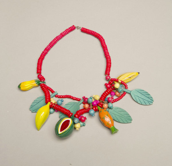 Fruit Salad Jewelry Novelty Whimsical Vintage Wooden Necklace