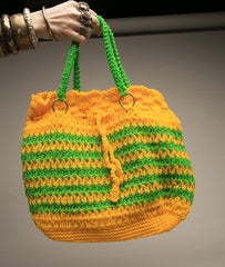 Tote Market Bag Bright Bold Stripes Yellow Green Woven Artisan Handmade