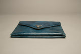Blue Envelope Clutch Embossed Leather Bag Vintage Accessories