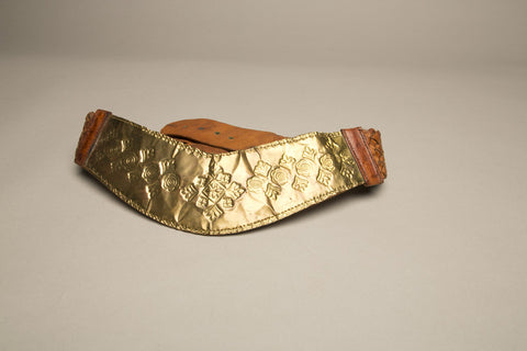 Bohemian Leather Belt Brass Bold Brown Handcraft Vintage Accessory