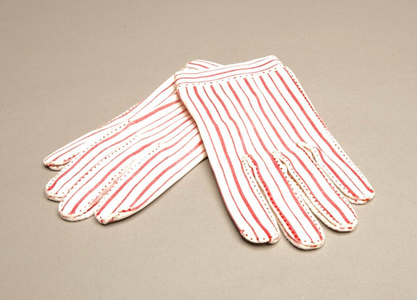 Vintage Hermes Gloves Red White Pinstripes Authentic Designer Accessory