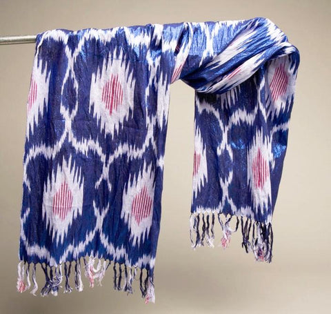 Metallic Blue Pink Long Scarf Head Top Skirt Body Wrap Vintage Accessory
